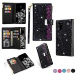 Glittery Starry Style Laser Carving Zipper Leather Case for Samsung Galaxy Note 20 Plus/Note 20 Pro – Black