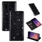Flash Powder Leather Stand Case with Card Slot for Samsung Galaxy Note 20/Note 20 5G – Black