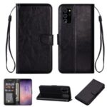 Solid Color Crazy Horse Skin Leather Cover for Samsung Galaxy Note 20 – Black