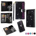 Glittery Starry Style Laser Carving Leather Cover for Samsung Galaxy A21s – Black