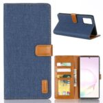 Oxford Cloth Wallet Leather Shell for Samsung Galaxy Note20/Note20 5G – Dark Blue