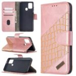 Assorted Color Crocodile Skin Leather Wallet Case for Samsung Galaxy A21s – Rose Gold