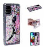 Pattern Printing Glitter Powder Quicksand TPU Back Case for Samsung Galaxy A71 SM-A715 – Girl and Butterfly