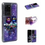 Pattern Printing Glitter Powder Quicksand TPU Phone Case for Samsung Galaxy S20 Ultra – Couple Owls