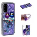Pattern Printing Glitter Powder Quicksand Cover TPU Case for Samsung Galaxy S20 – Couple Owls