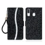 Glittery Powder Splicing Wallet Stand Leather Case for Samsung Galaxy A20e – Black