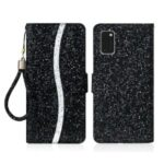 Glittery Powder Splicing Wallet Stand Leather Case for Samsung Galaxy A41 (Global Version) – Black