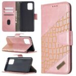 Crocodile Skin Assorted Color Style Leather Wallet Case for Samsung Galaxy A91 / S10 Lite – Rose Gold
