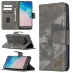 Assorted Color Style Crocodile Skin Leather Wallet Case for Samsung Galaxy S10 – Grey