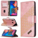 Assorted Color Crocodile Skin Leather Wallet Case for Samsung Galaxy A20 / A30 – Rose Gold