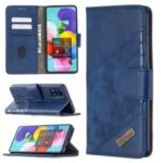 Assorted Color Crocodile Skin Leather Wallet Case for Samsung Galaxy A51 SM-A515 – Blue