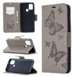 Imprint Butterfly Leather Wallet Case for Samsung Galaxy A21s – Grey