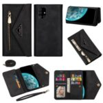 Leather Wallet Phone Case Cover with Zipper Strap for Samsung Galaxy A71 SM-A715 – Black
