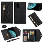 Multiple Card Slots Zipper Wallet Leather Cover with Short/Long Strap for Samsung Galaxy Note 20/Note 20 5G – Black