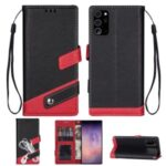 Litchi Texture Contrast Color Leather Phone Case for Samsung Galaxy Note 20/Note 20 5G – Black