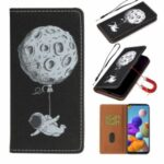 Pattern Printing Leather Phone Case Cover Wallet for Samsung Galaxy A21s – Astronaut