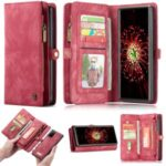 CASEME 008 Series Multi-functional 2-in-1 Zipper Wallet Split Leather Case for Samsung Galaxy Note 20/Note 20 5G – Red