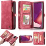 CASEME 008 Series Multi-functional 2-in-1 Zipper Wallet Split Leather Case for Samsung Galaxy Note20 Ultra/Note20 Ultra – Red