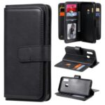 Multi-function 10 Card Slots PU Leather Wallet Case for Samsung Galaxy A20e – Black