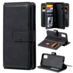 Multi-function Wallet TPU+PU Leather with 10 Card Slots Case for Samsung Galaxy A41 (Global Version) – Black
