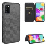 Carbon Fiber Auto-absorbed Leather Cover for Samsung Galaxy A41 (Global Version) – Black