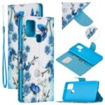 Pattern Printing Wallet Leather Stand Case for Samsung Galaxy A21s – Butterfly and Flower