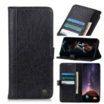 Rhino Grain Wallet Stand PU Leather Protective Phone Shell for Samsung Galaxy A01 Core – Black