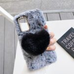 Heart Decor Soft Fur Coated with Diamond TPU Case for Samsung Galaxy Note 20 5G / Galaxy Note 20 – Grey