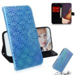Flower Style Magnetic Leather Case for Samsung Galaxy Note20 Ultra/Note20 Ultra 5G – Blue