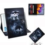 Pattern Printing Wallet Leather Tablet Case for Samsung Galaxy Tab S7 T870 – Dog and Wolf Reflection