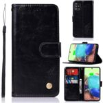 Premium Vintage Leather Wallet Stand Case for Samsung Galaxy A71 5G SM-A716 – Black