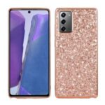Glittering Sequins Plated TPU Frame + PC Hybrid Case for Samsung Galaxy Note 20 / Note 20 5G – Rose Gold