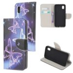 Cross Texture Pattern Printing Leather Cover for Samsung Galaxy A01 Core – Beautiful Butterfly