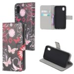 Pattern Printing Wallet Leather Phone Shell for Samsung Galaxy A01 Core – Butterfly and Flower