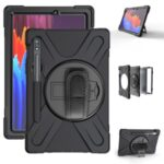 For Samsung Galaxy Tab S7 T870/T875 360° Swivel Kickstand  PC + Silicone Tablet Combo Shell [Built-in Hand Holder Strap] – Black