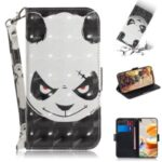 Pattern Printing Light Spot Decor Leather Wallet Casing with Lanyard for LG K61 – Panda