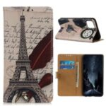 Pattern Printing PU Leather Wallet Stand Phone Shell for Huawei Enjoy 20 – Eiffel Tower and Letters