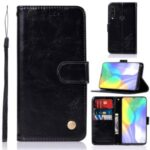 Premium Vintage Leather Wallet Stand Case for Huawei Y6p/Honor 9C – Black