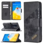 Crocodile Skin Assorted Color Leather Phone Shell for Huawei P40 Pro – Black