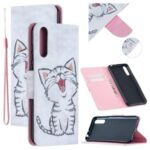 Pattern Printing Leather Wallet Stand Case for Huawei P Smart S/Y8p – Happy Cat