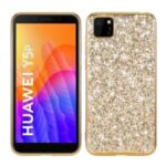 Glittering Sequins Plated TPU Frame + PC Hybrid Shell for Huawei Y5p – Gold