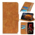 Retro Style Split Leather Wallet Phone Shell for Motorola Moto G 5G Plus – Brown