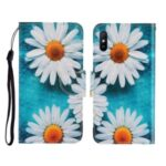 Pattern Printing Cover with Stand Leather Wallet Case for Xiaomi Redmi 9A – White Flowers