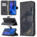 Assorted Color Crocodile Skin Leather Wallet Case for Xiaomi Redmi 9 – Black