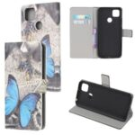 Pattern Printing Wallet Leather Stand Case for Xiaomi Redmi 9C – Blue Butterfly