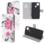 Pattern Printing Wallet Leather Stand Case for Xiaomi Redmi 9C – Purple Flowers