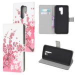 Pattern Printing Leather Wallet Case for Xiaomi Redmi 9 – Plum Blossom