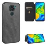 Carbon Fiber Auto-absorbed Leather Protective Case for Xiaomi Redmi Note 9/Redmi 10X 4G – Black