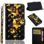 Light Spot Decor Pattern Printing Wallet Stand Leather Shell with Strap for Xiaomi Redmi 9C – Gold Butterfly