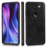 Crazy Horse Texture PU Leather Coated TPU Phone Case for Xiaomi Redmi Note 9 – Black